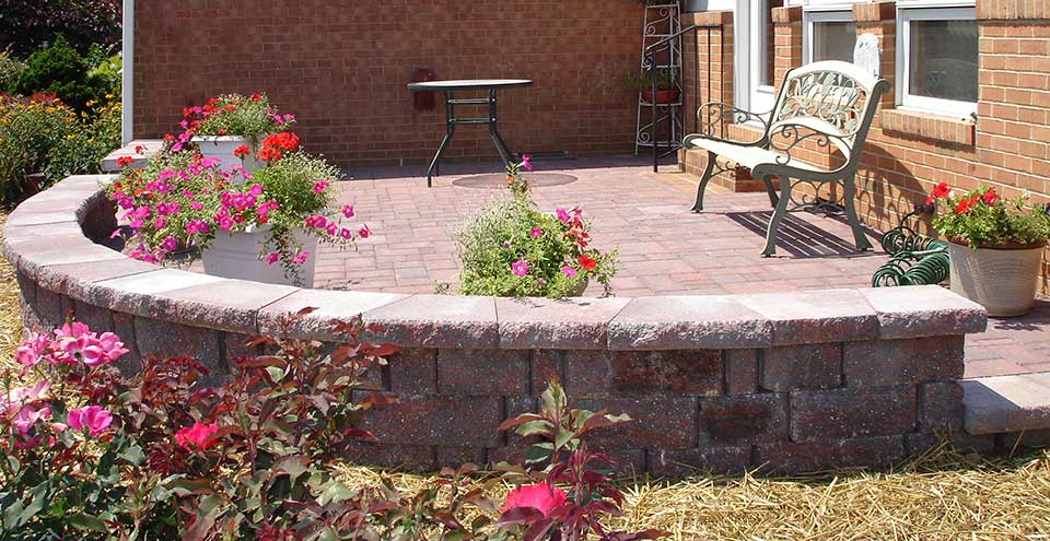Freestanding wall with patio