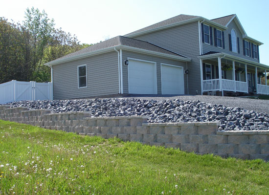 Retaining wall with rip-rap