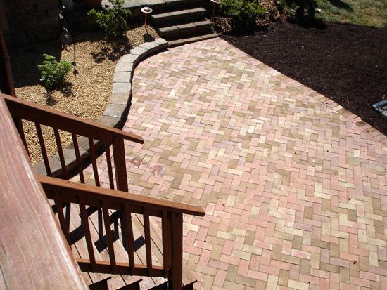 Herringbone patterned patio