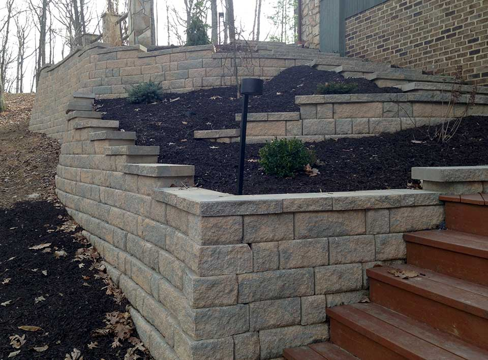 Stairway with landscape lighting